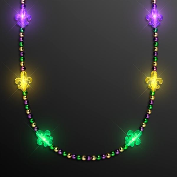 Light Up Fleur de Lis Jewelry, Mardi Gras Beads