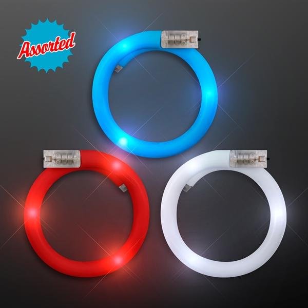 LED Flash Tube Bracelets - Assorted Red, White & Blue