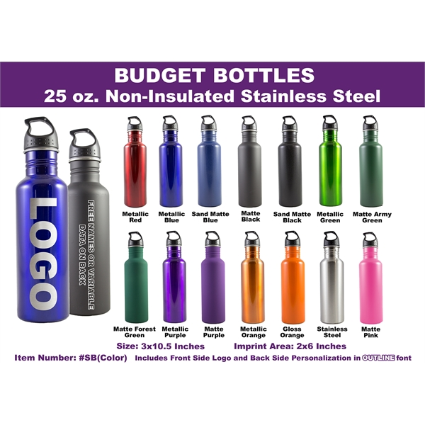 750 ml (25 Ounces) Stainless Steel Water Bottle