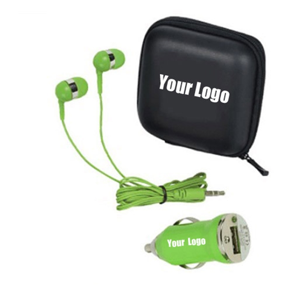 Earbuds, Car Charger 2 in one Tech Travel Kit