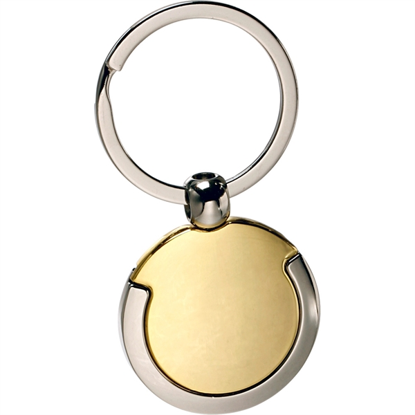Gold and Silver Round Keychain
