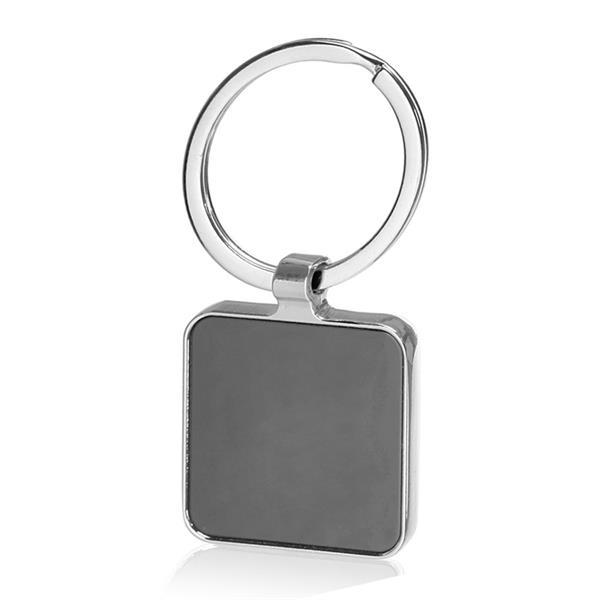 Black Squared Metal Keychain