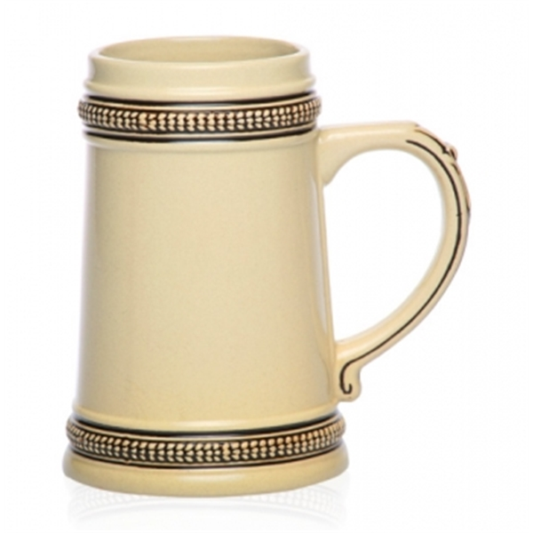 18.5 oz. Brown Deco Ceramic Beer Stein