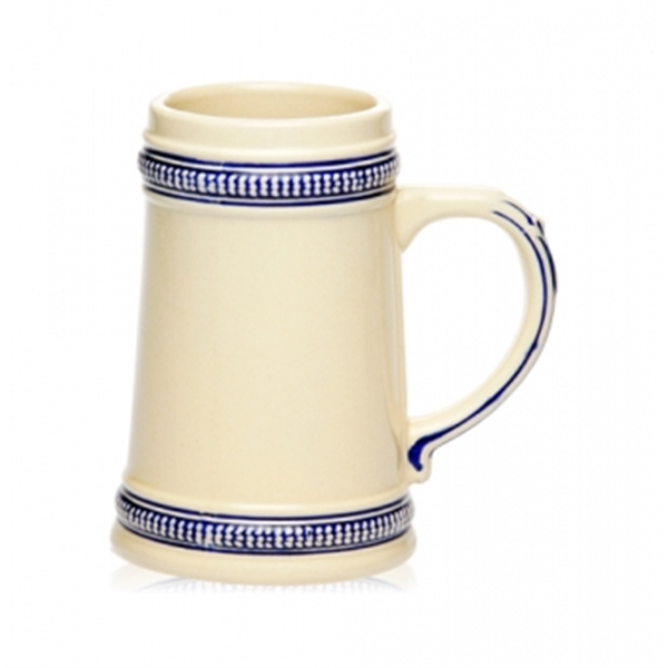 18.5 oz. blue deco ceramic beer stein