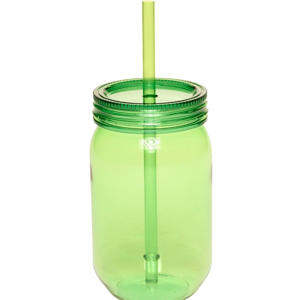24 oz plastic mason jars with straw