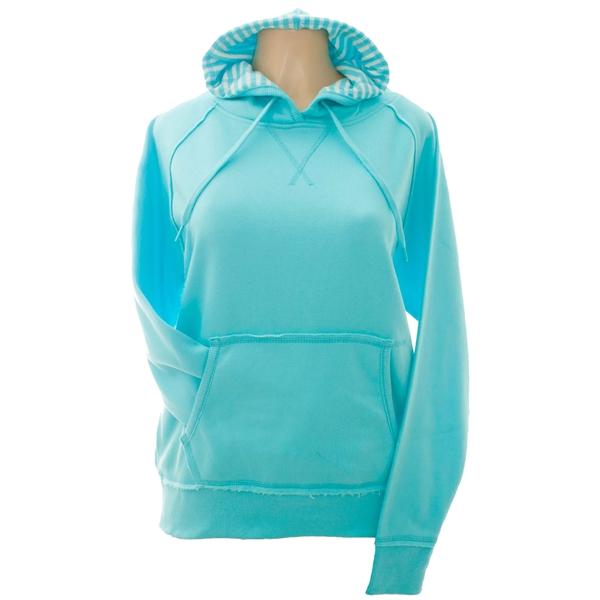 Women's Raglan Soft Sweat Fleece Stripped Hooded Pullover