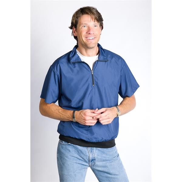 Short Sleeve Houndstooth 1/4 Zip Wind Shirt
