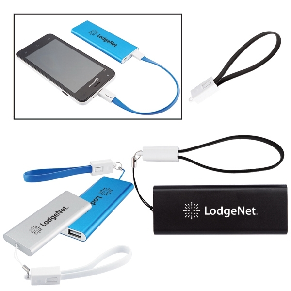 Slim Aluminum Power Bank Charger w/ Micro USB Cable