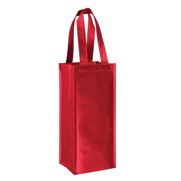 "Metallic Laminated Wine Tote Bag - 1 Bottle - Screen Print - Metallic Laminated Non-Woven Wine Tote Bag - 1-Bottle (5""x5""x12"") - Screen Print"
