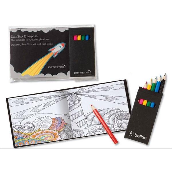 Custom Design Cover Adult Coloring Books & 6-Color Pencils