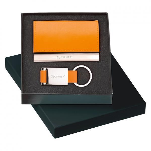 LEATHER CARD CASE & KEY RING GIFT SET