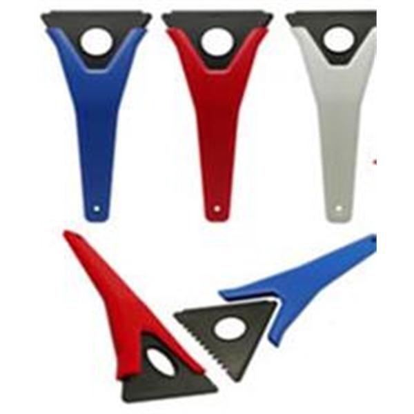 Three sided ice scraper w/triangle insert.
