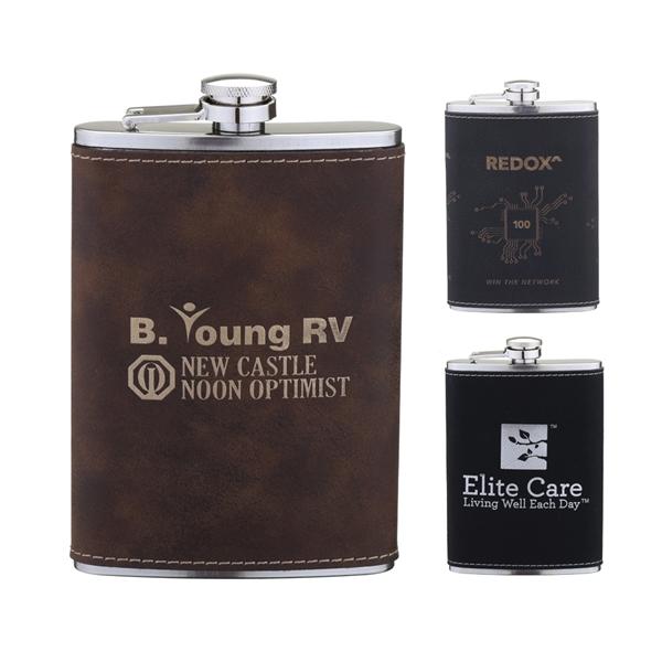 Laserable Leatherette Flask