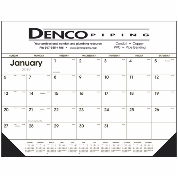 Black & White 2020 Desk Calendar Pad with Vinyl Corners