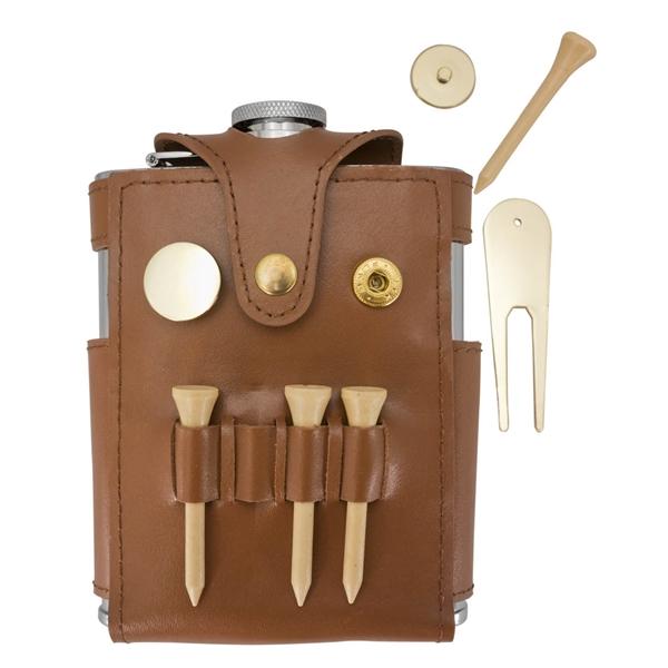 Visol GB Brown Leather Liquor Flask w/Golf Tools-6oz