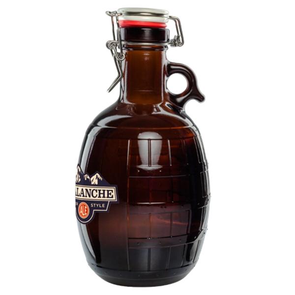 2L Amber Glass Barrel Growler