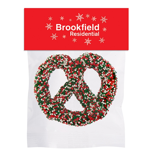 Chocolate Covered Pretzel Knot in Header Bag - Holiday
