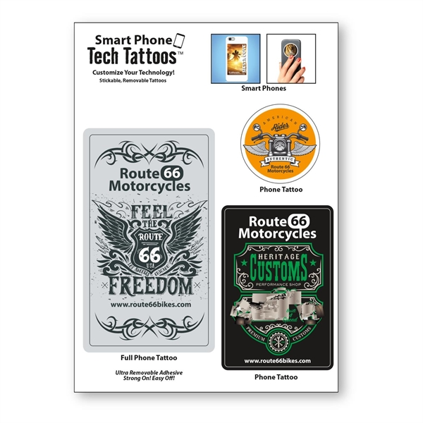 """Smart Phone Tech Tattoos Decal / 3 Stock Shapes (5""""x7"""")"""