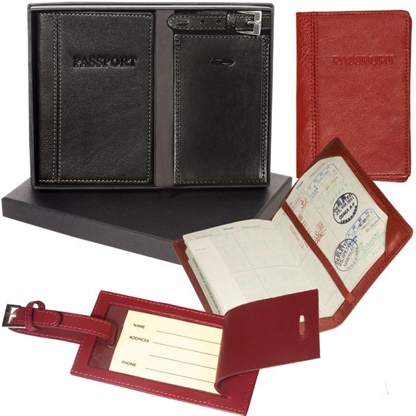 Leeman New York Peconic Passport and Luggage Tag Set
