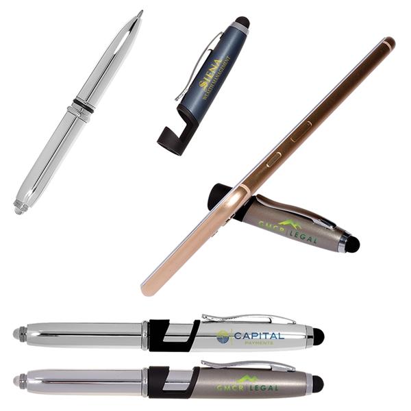 Multi Function Metal Stylus Pen Light & Phone Stand