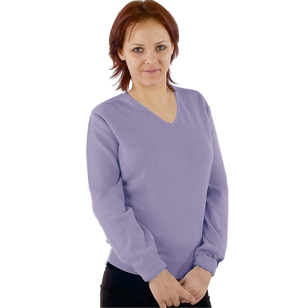 Women's V-Neck Pullover, Cotton, Fine Gauge. Made in USA