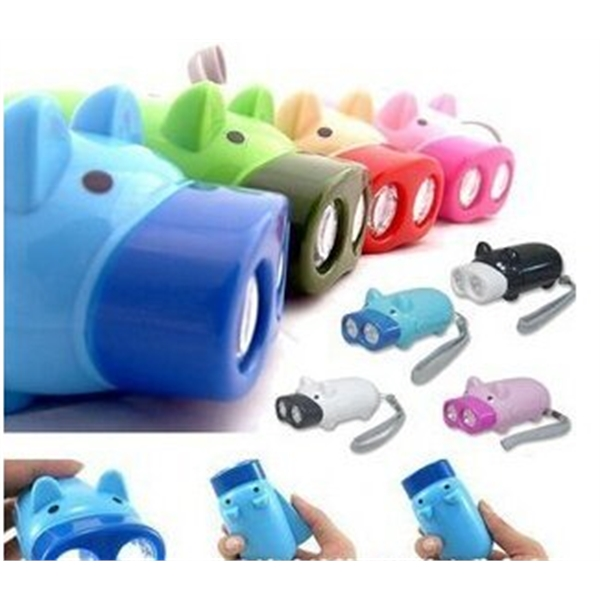 Hand Crank ElectricTorch LED Lovely Pig Keychain Flashlight