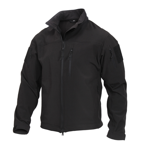 Black Stealth Ops Tactical Soft Shell Jacket