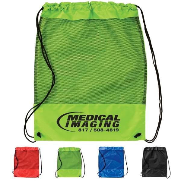 Mesh Panel Drawstring Backpack