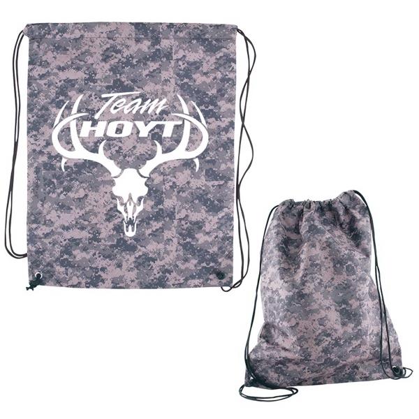 Digital Camouflage RPET Drawstring Cinch-Up Backpack