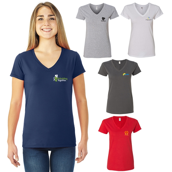 Fruit of the Loom®Sofspun®Ladies Jr Fit V-Neck T-Shirt