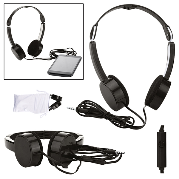 Folding Headphones w/ Microphone