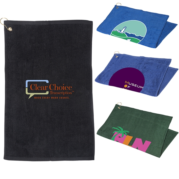 16x25 Hemmed Golf Towel w/ Grommet & Hook
