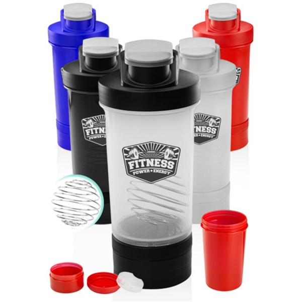16 oz. Dual Plastic Shaker Bottle with Mixer