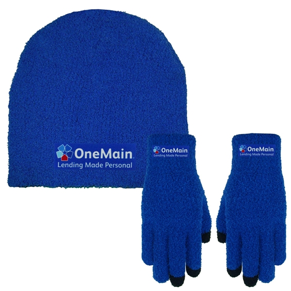Fuzzy Beanie Cap and Text Gloves Combo