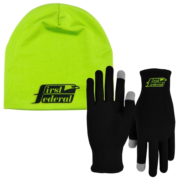 Runners Text Gloves-Performance Beanie Cap Combo
