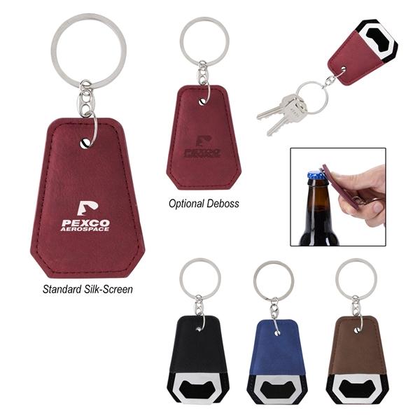 Leatherette Bottle Opener Key Ring
