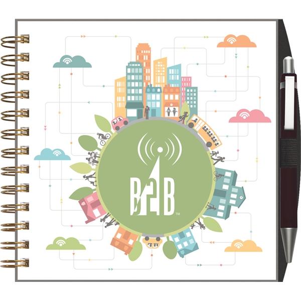 Clear View - Square Note Book w/ Pen Port & Pen