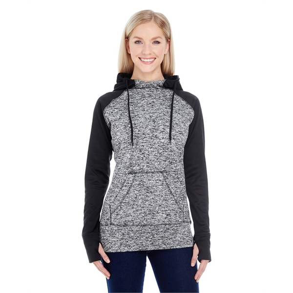J America Ladies' Colorblock Cosmic Hooded Sweatshirt