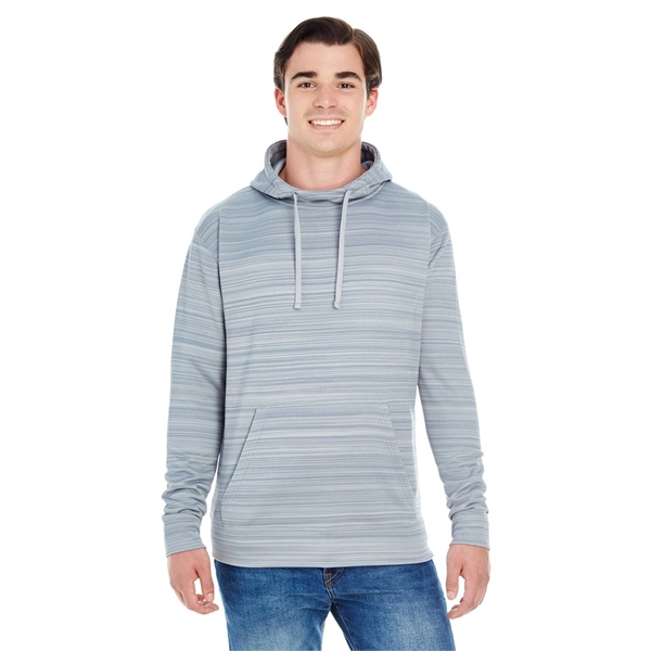 J America Adult Odyssey Striped Poly Fleece Pullover Hood