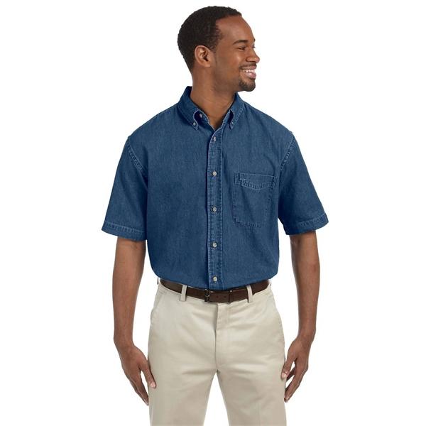 Harriton Men's 6.5 oz. Short-Sleeve Denim Shirt