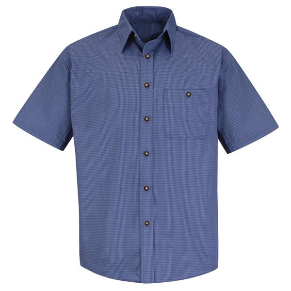 Red Kap® Men's Short Sleeve Mini-Plaid Uniform Shirt