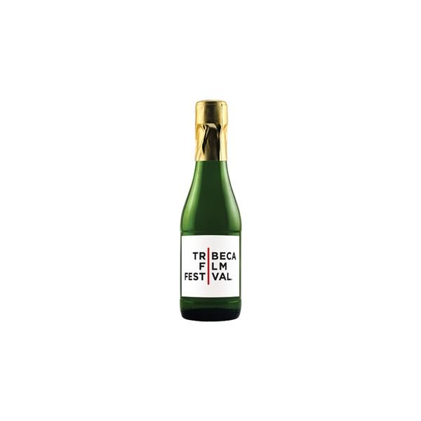Mini CA Champagne Sparkling Wine with Custom Label - 187ml. miniature bottle of California Champagne sparkling white wine with custom digitally printed full color label.