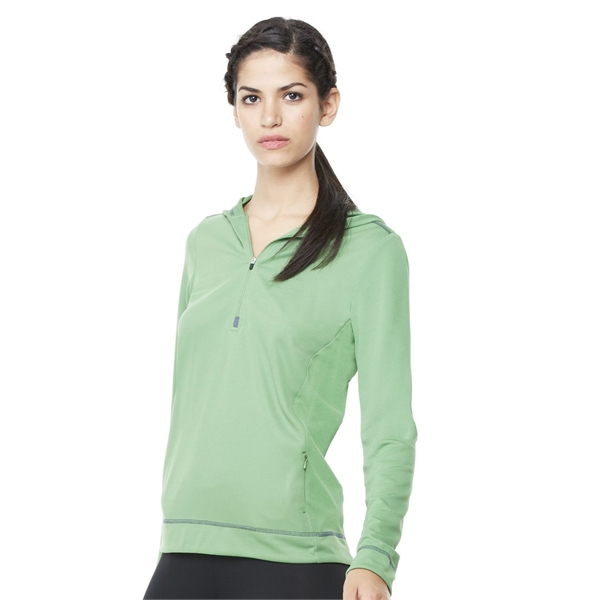 All Sport Women's Long Sleeve Half-Zip Hooded Pullover
