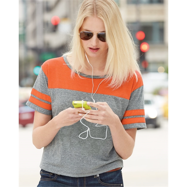 Blue 84 USA-Made Juniors' Triblend Striped Cropped Tee