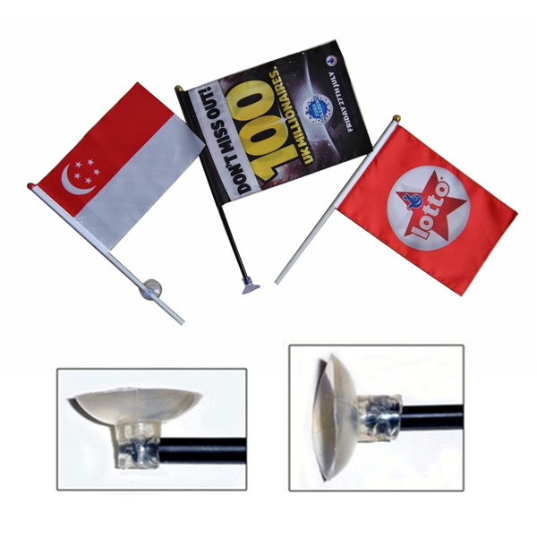 Suction Cup Stick Flag. 2 Angle Suction Cup Option Included.