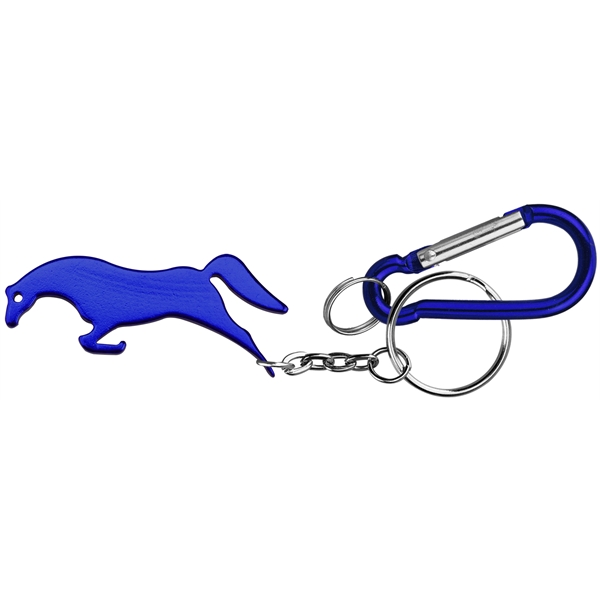 Horse Shape Bottle Opener Keychain and Carabiner