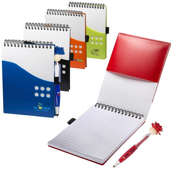 Two-Tone Jotter with MopTopper™ Stylus Pen