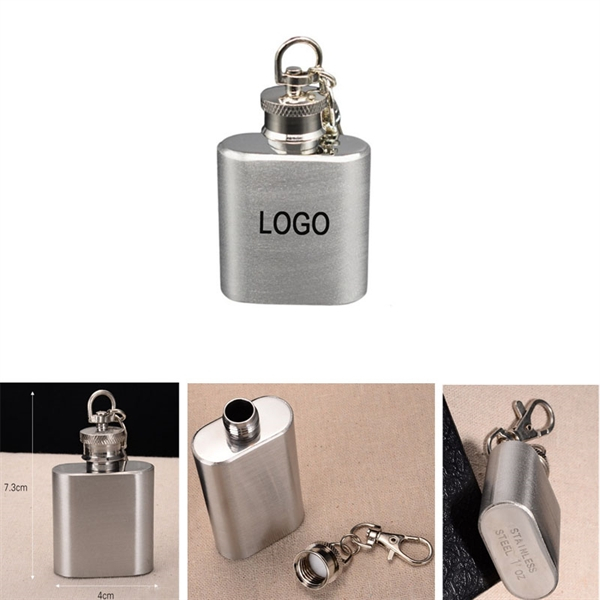 Mini Stainless Steel Hip Flask with Keychain