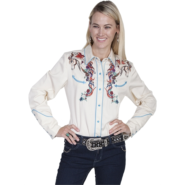 Horse and Flower Embroidery Shirt