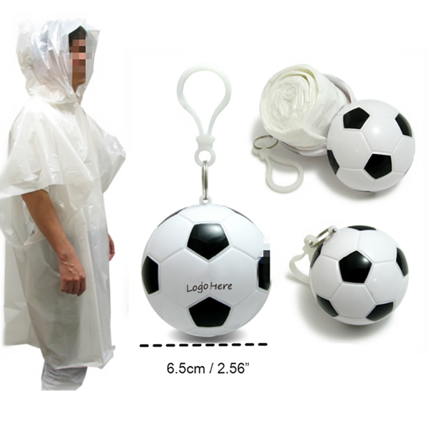 Football Keychain with Emergency Rain Poncho